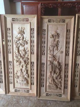 tranh gỗ bốn mùa khung kép