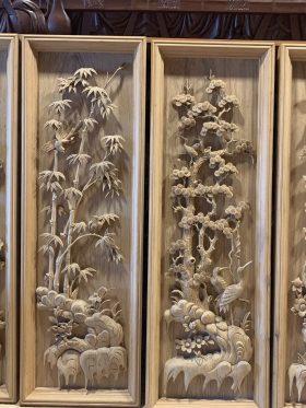 Tranh tứ quý gỗ gụ quảng bình 1