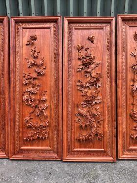 tranh tứ quý gỗ hương đá khung kép 1