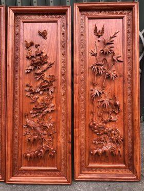 tranh tứ quý gỗ hương đá khung kép 2