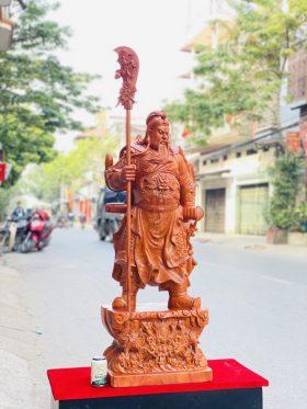 Tượng Quan Công Chống Đao Cao 1m2 gỗ hương đá - 2