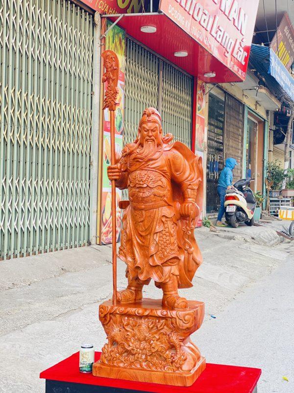 Tượng Quan Công Chống Đao Cao 1m2 gỗ hương đá - 3