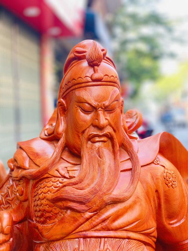 Tượng Quan Công Chống Đao Cao 1m2 gỗ hương đá - 5