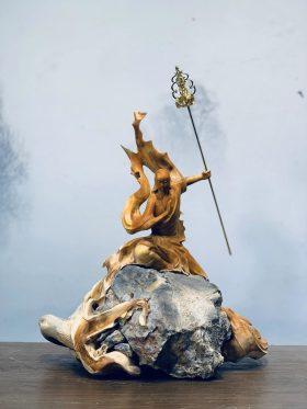 Tượng địa tạng vương bồ tát gỗ nhai bách cao 43cm - 1