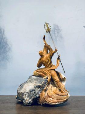 Tượng địa tạng vương bồ tát gỗ nhai bách cao 43cm - 2