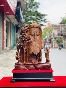Tượng nhất tâm bái phật gỗ xá xị cao 77cm - 1