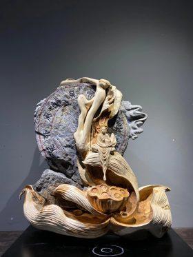 Tượng thiền liên gỗ nhai bách cao 59cm -1