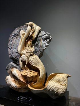 Tượng thiền liên gỗ nhai bách cao 59cm -2