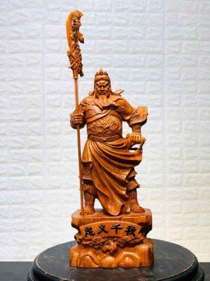tượng gỗ quan công chống đao đế tùng cao 80 mặt trước
