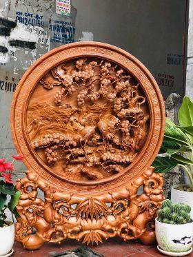 Đĩa gỗ tùng hạc gỗ hương đá đường kính 60cm - 1