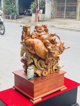 Di Lặc Tam Phúc Thuần Nghê Gỗ Nu Hương Cao 75cm -2
