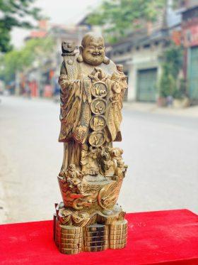 Di lặc chúc phúc tài lộc gỗ mun hoa cao 60cm -2