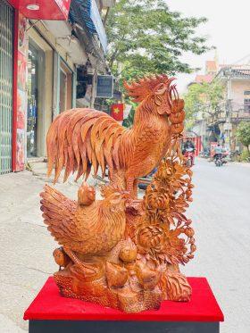 Gia đình gà hoa phù dung gỗ hương ta cao 97cm - 1