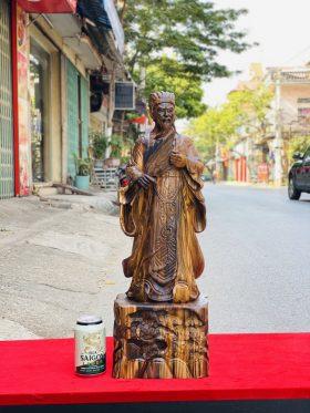 Khổng minh tiên sinh gỗ mun hoa cao 60cm - 1