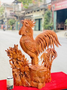 Nhất Kê Hoa Phù Dung Gỗ Hương Ta Cao 70cm - 2