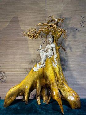 Quan âm tự tại gỗ kim tơ mộc nam chỉ vàng cao 86cm 1