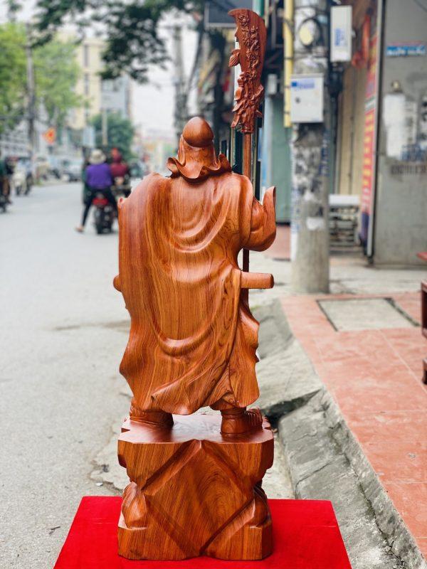 Quan công chống đao cao 1m gỗ hương đá - 8