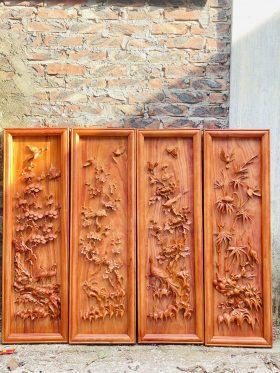 Tranh gỗ tứ quý hương đá khung đơn 1