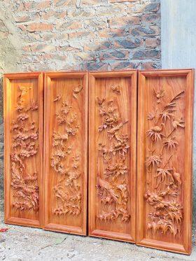 Tranh gỗ tứ quý hương đá khung đơn 2