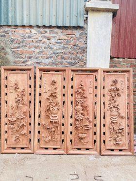 Tranh tứ bình gỗ hương đá cao 127cm - 1