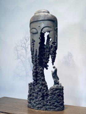 Tượng nhất tâm bái phật gỗ âm trầm cao 83cm - 2
