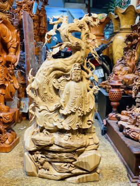 Tượng quan âm đứng gốc bồ đề gỗ ngọc am cao 103cm - 1