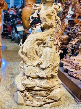Tượng quan âm đứng gốc bồ đề gỗ ngọc am cao 103cm - 2