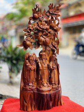 Tượng tam đa gốc đào gỗ hương ta cao 105cm - 2