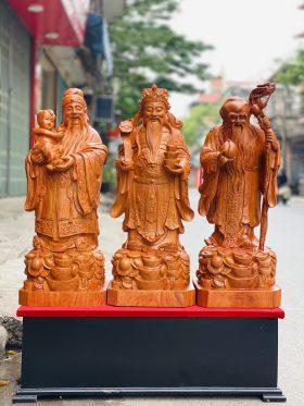 Tượng tam đa gỗ hương đá cao 80cm - 1
