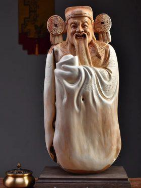Tượng thần tài gỗ nhai bách cao 53cm - 1