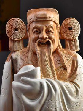 Tượng thần tài gỗ nhai bách cao 53cm - 2