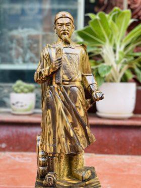 tượng trần quốc tuấn gỗ mun hoa cao 60cm - 2