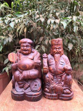 Tượng Thần Tài - Thổ Địa gỗ Trắc Dây