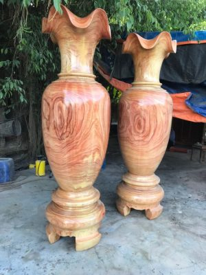 cặp lục bình bằng gỗ hương đỏ nam phi cao 2m2
