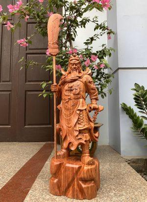 tượng gỗ quan công chống đao bằng gỗ hương cao 81cm