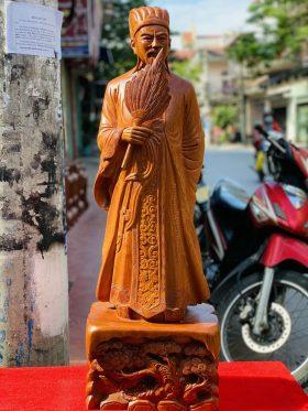 tượng khổng minh gỗ hương đá cao 1m - 1