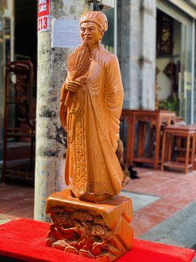 tượng khổng minh gỗ hương đá cao 1m - 2