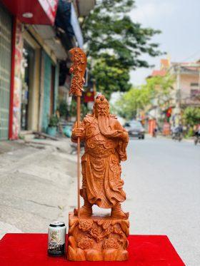 tượng quan công chống đao vuốt râu gỗ hương đá 1