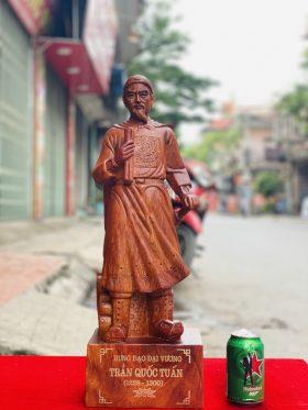 tượng trần quốc tuấn gỗ hương đá cao 80cm - 2