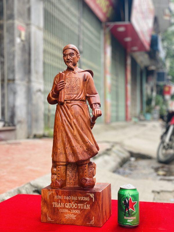 tượng trần quốc tuấn gỗ hương đá cao 80cm - 4