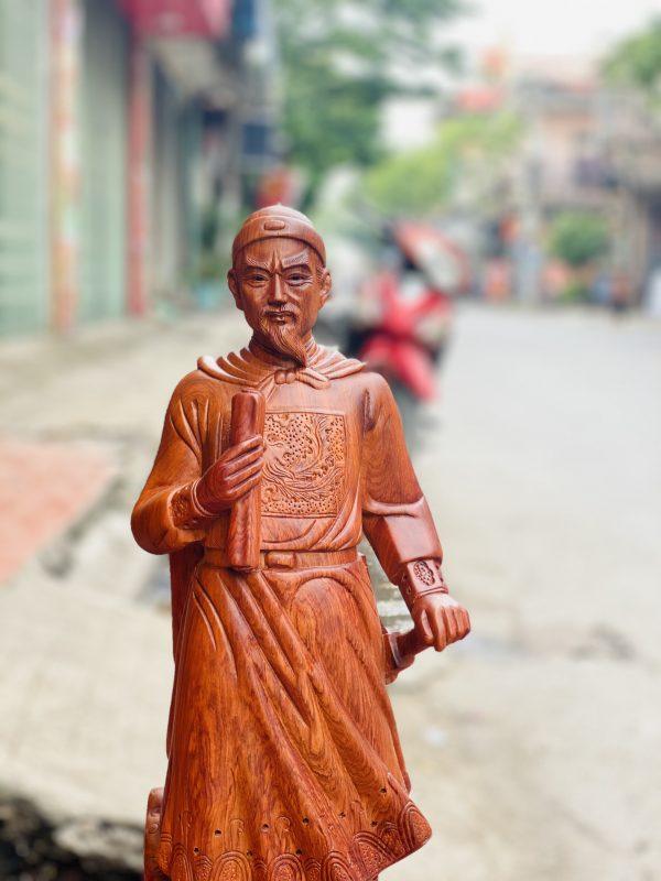tượng trần quốc tuấn gỗ hương đá cao 80cm - 5
