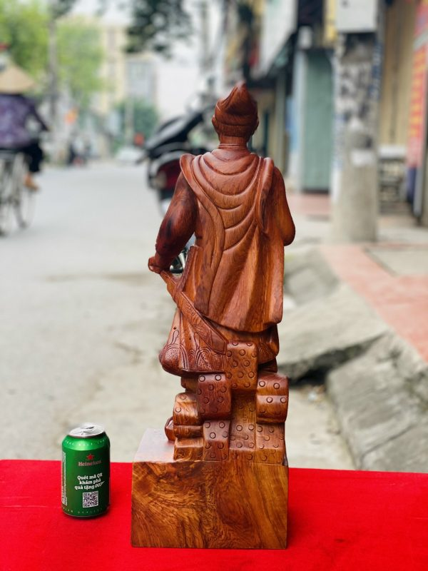 tượng trần quốc tuấn gỗ hương đá cao 80cm - 7