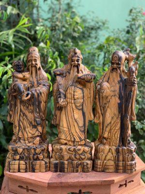 tượng gỗ tam đa phúc lộc thọ đẹp bằng gỗ mun hoa mặt trước