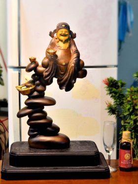 tượng thần tài ngồi gỗ bách xanh nguyên khối đẹp