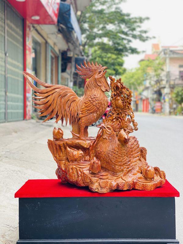 Gia đình gà hoa phù dung gỗ hương ta cao 82cm - 1