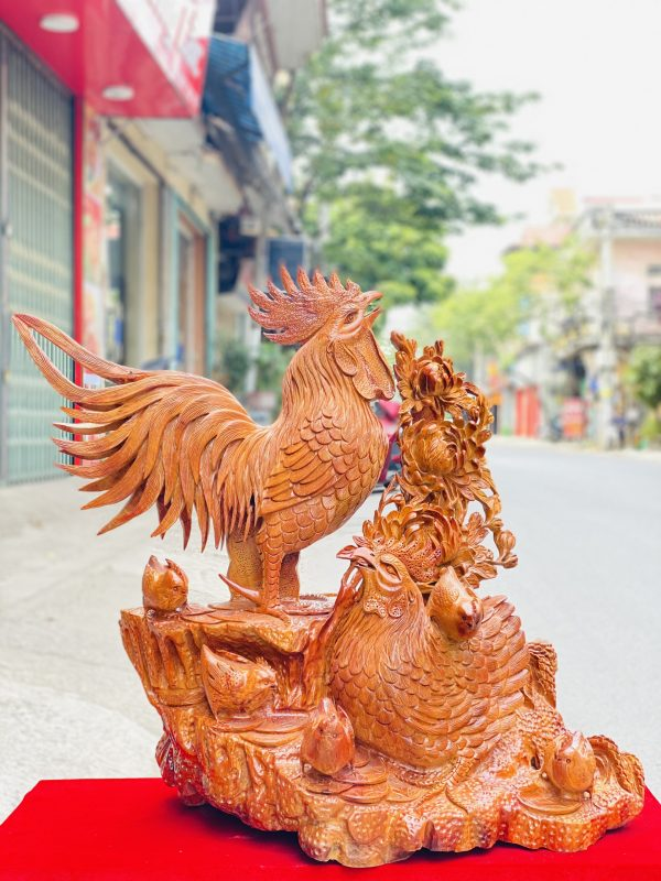 Gia đình gà hoa phù dung gỗ hương ta cao 82cm - 2