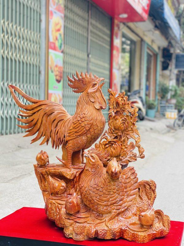 Gia đình gà hoa phù dung gỗ hương ta cao 82cm - 3