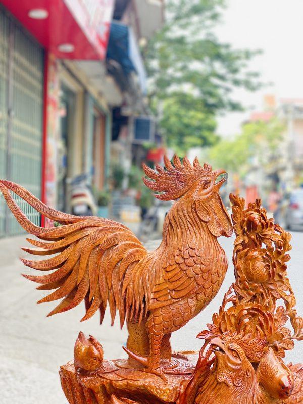 Gia đình gà hoa phù dung gỗ hương ta cao 82cm - 4