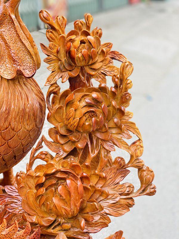 Gia đình gà hoa phù dung gỗ hương ta cao 82cm - 6