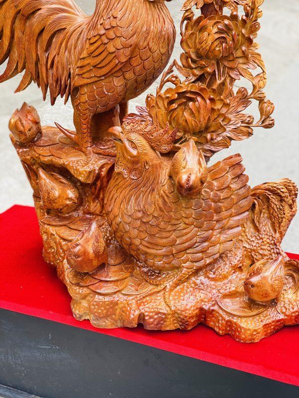 Gia đình gà hoa phù dung gỗ hương ta cao 82cm - 7